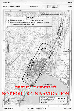 Airfield traffic pattern -  Traffic pattern of Eilat Airfield (Israel). Note different pattern altitudes for heavy aircraft and ultralights/helicopters