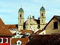 Einsiendeln. Panorama der Stadt mit Blick auf das Kloster..JPG