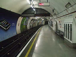 Embankment station Bakerloo northbound look south