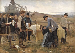 Work accident - Erik Henningsen's painting A wounded worker from the National Gallery of Denmark