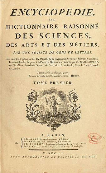 First page of the Encyclopedie, published between 1751 and 1766 Encyclopedie de D'Alembert et Diderot - Premiere Page - ENC 1-NA5.jpg