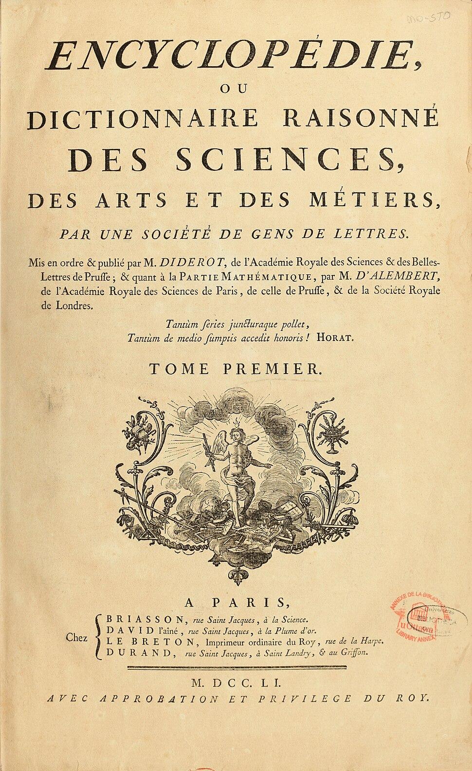 Encyclopedie de D'Alembert et Diderot - Premiere Page - ENC 1-NA5