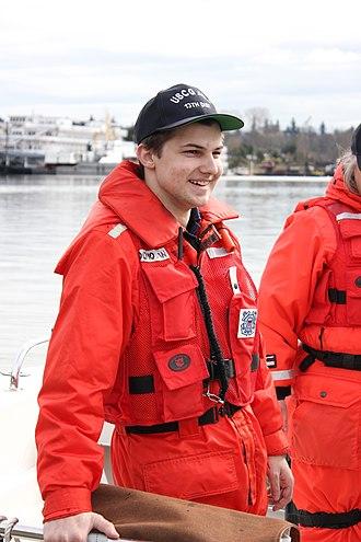 Enthusiasm - A U.S. Coast Guard auxiliarist looking enthusiastic.