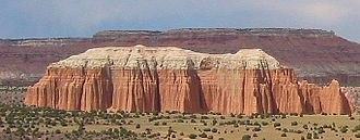 Entrada Sandstone - Entrada Sandstone overlain by Curtis Formation in Capitol Reef National Park's Cathedral Valley