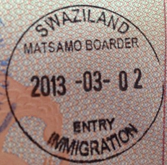 Visa policy of Eswatini - Image: Entry Stamp Swaziland