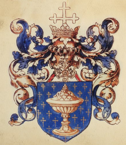 Arms of the Kingdom of Galicia, illustrated in L'armorial Le Blancq, Bibliotheque nationale de France, 1560 Escudo reino de galicia.jpg