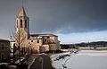 Església Parroquial de Sant Cugat (Fornells de la Selva) Vista general després de la nevada de març del 2010.jpg