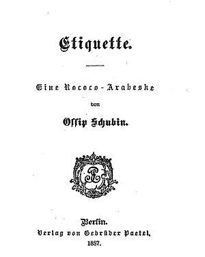 title page of Etiquette an Rococo-Arabeske