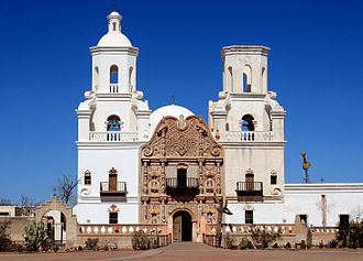 The Spanish mission of San Xavier del Bac, near Tucson, founded in 1700 Exterior of the Mission Xavier del Bac.jpg