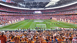 Hull City A.F.C. in European football - Tigers fans at the 2014 FA Cup Final, gateway to their maiden UEFA Europa League campaign.
