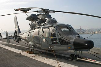 Eurocopter AS365 Dauphin - French Navy AS365 F Dauphin rescue helicopter on the deck of the Charles De Gaulle carrier, June 2004