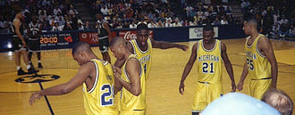 Michigan Wolverines men's basketball - The Fab Five during their sophomore year, Crisler Arena, Ann Arbor, Michigan. From left to right, Jimmy King, Jalen Rose, Chris Webber, Ray Jackson, Juwan Howard.