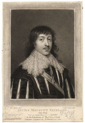 Lucius Cary, 2nd Viscount Falkland - Engraving depicting Lord Falkland, based on a portrait by Cornelis Janssens van Ceulen.