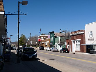 Fall Creek, Wisconsin - Downtown, facing west on Lincoln Ave.