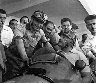 1953 Argentine Grand Prix - Local drivers Juan Manuel Fangio and José Froilán González during a test prior to the race