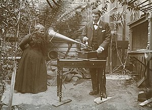 Music of Australia - Horace Watson recording the songs of Fanny Cochrane Smith, considered to be the last fluent speaker of a Tasmanian language, 1903. Folk-singer Bruce Watson, descendant of Watson, composed a song about this picture and later performed it with singer Ronnie Summers, a descendant of Smith.