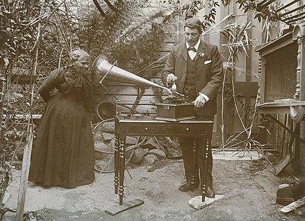 Recording the songs of Fanny Cochrane Smith using a phonograph. Fanny Cochrane Smith recording.jpg