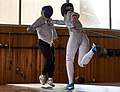 Fencing. Épée. Nikos Katsinis and Eleftheria Mimigianni at Athenaikos Fencing Club.jpg