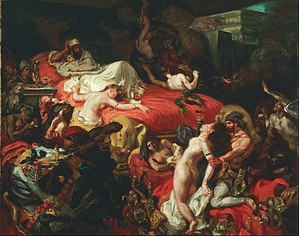 The Death of Sardanapalus - 1844 version of the painting (73.71cm × 82.47cm), from Philadelphia Museum of Art.