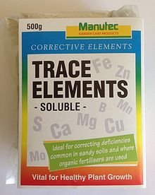 "A small oblong-shaped package that you could hold in your hand. The front says ""Corrective elements, and underneath that ""Trace elements - soluble -"". Floating in the background are the symbols for the elements iron, zinc, sulfur, calcium, magnesium, boron, manganese, copper, and molybdenum."