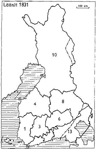 Uusimaa Province - Provinces of Finland 1831: 1: Turku and Pori, 2: Uusimaa, 3: Häme, 4: Vaasa, 6: Mikkeli, 8: Kuopio, 10: Oulu, 13: Viipuri