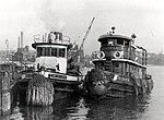 Fireboat Cornelius W. Lawrence with tug Russell 8 in 1914.jpg