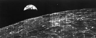Lunar Orbiter program - Image: First View of Earth from Moon