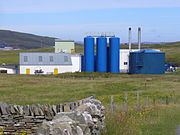 Fish meal factory at the north-west corner of Bressay