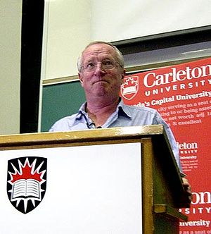 Robert Fisk during a lecture at Carleton Unive...