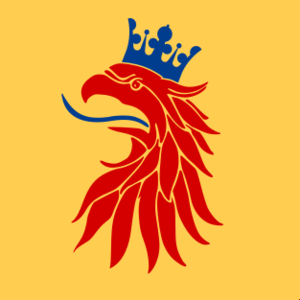 Banner of arms - The official flag of Scania, one of Sweden's traditional provinces, is a banner of arms.