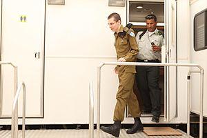 Gilad Shalit prisoner exchange - Shalit, soon after arriving Kerem Shalom, Israel, 18 October 2011.