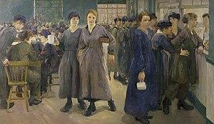 Flora Lion - Women's Canteen at Phoenix Works, Bradford, 1918 (Art.IWM ART4434)