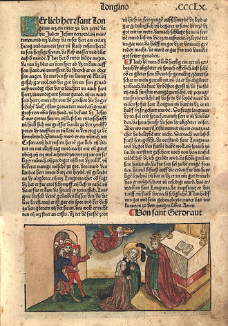 """Anton Koberger - Folio Page from """"The Golden Legend"""" printed by Anton Koberger, 1488. The image depicts a saintly woman being anointed, possibly St. Mary or any number of other female saints."""