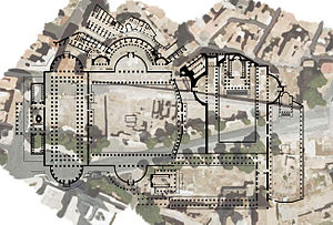 Imperial fora - Map of the imperial forums over the current ruins.