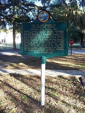 San Juan del Puerto, Florida - Historical marker about the mission