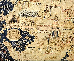 "Cathay - ""Chataio"" on Fra Mauro map (ca. 1450). Note that the south is on top"