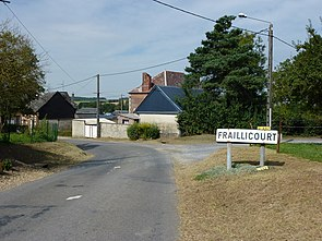 Fraillicourt (Ardennes) city limit sign.JPG