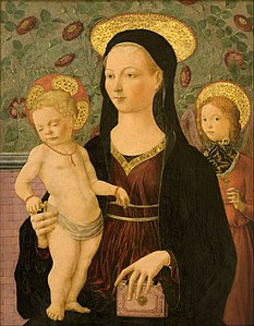Francesco del Cossa (?) - Virgin and Child with an Angel - Google Art Project.jpg