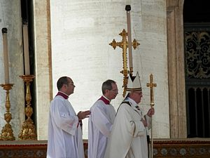 Pope Francis in a church procession. He and his predecessors have opposed drug use.