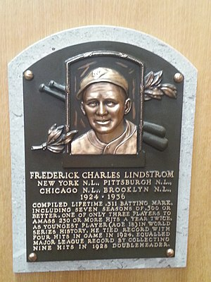 Freddie Lindstrom - Plaque of Freddie Lindstrom at the Baseball Hall of Fame