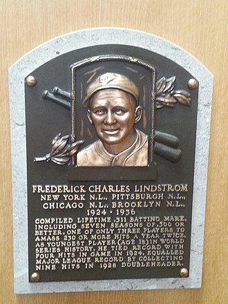 Freddie Lindstrom - Plaque of Freddie Lindstrom at the Baseball Hall of Fame