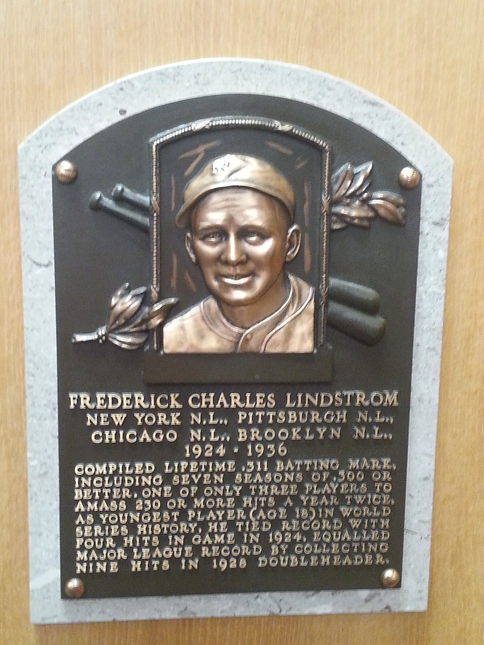 Freddie Lindstrom plaque