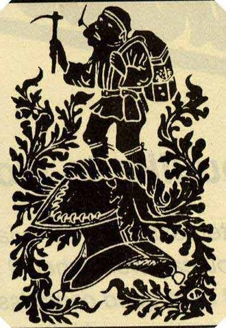 Forest of Dean Coalfield - The 'Freeminer Brass' - a symbol of the freeminers' authority above the Crown