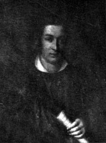 """Friedrich Wilhelm Arnold in akademischem Talar mit dem Manuskript seiner Novelle """"Die Blutbrücke"""" (Quelle: Wikimedia)"""