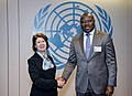 From left- Ambassador Taous Feroukhi of Algeria, President of the 2015 NPT Review Conference, and CTBTO Executive Secretary Lassina Zerbo (17310679605).jpg