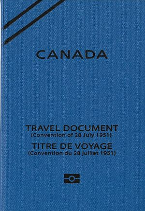 Refugee travel document - Image: Front cover of a Canadian travel document issued to refugees under the 1951 convention
