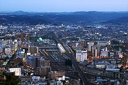 Fukushima City with a view of Fukushima Station.jpg
