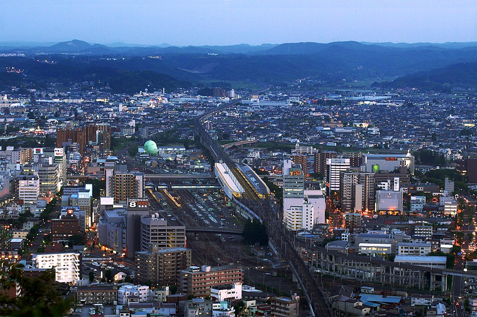Fukushima City with a view of Fukushima Station