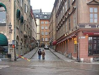 Funckens Gränd street in Gamla stan, Stockholm, Sweden