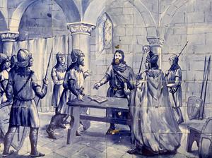 Treaty of Zamora - Establishment of the Portuguese Nationality (Treaty of Zamora). Tiles on the Jardim 1.º de Dezembro, Portimão, Portugal.